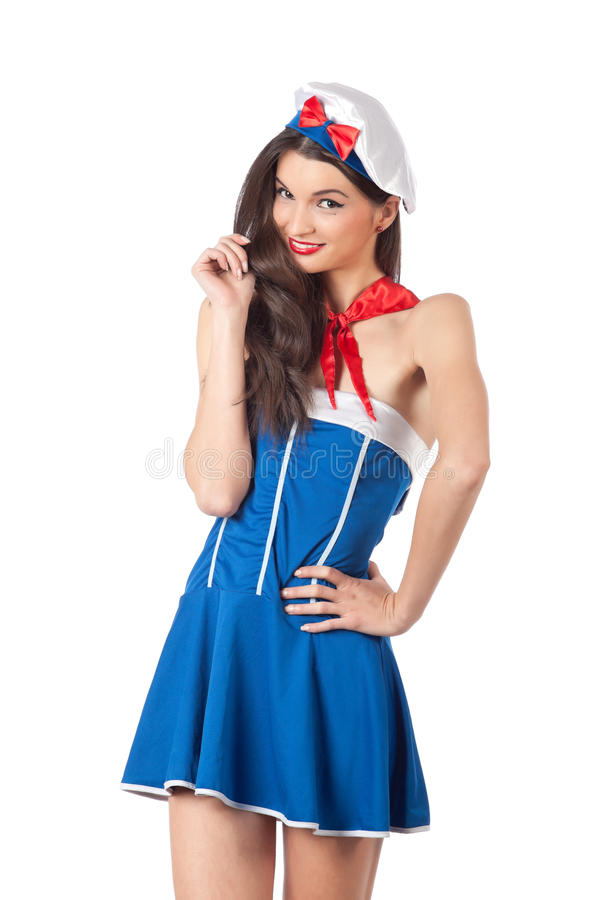 Download Attractive sailor woman stock photo. Image of brown, hair - 22824186