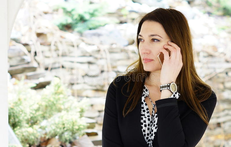 An attractive serious businesswoman talking on a mobile phon. E with partners outside the office stock image