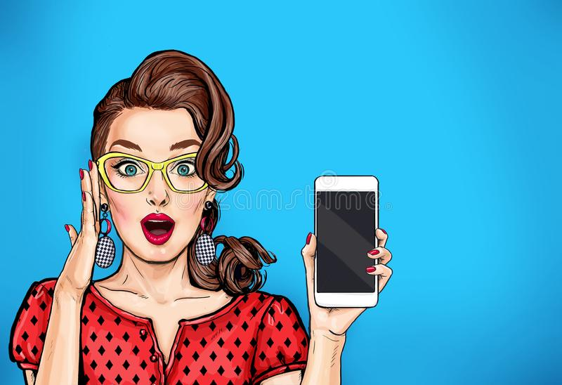 Attractive girl in specs with phone in the hand in comic style. Pop art woman. Holding smartphone. Digital advertisement female model showing the message or new