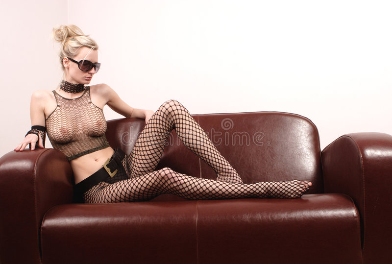 Download Attractive Woman On Leather Sofa Stock Photo - Image of pride, proud: 150314