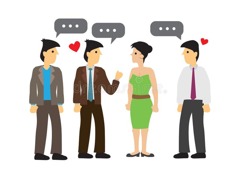 Attractive sexy woman surrounded by guys. Concept of flirting and searching for love. Flat isolated vector illustration stock illustration