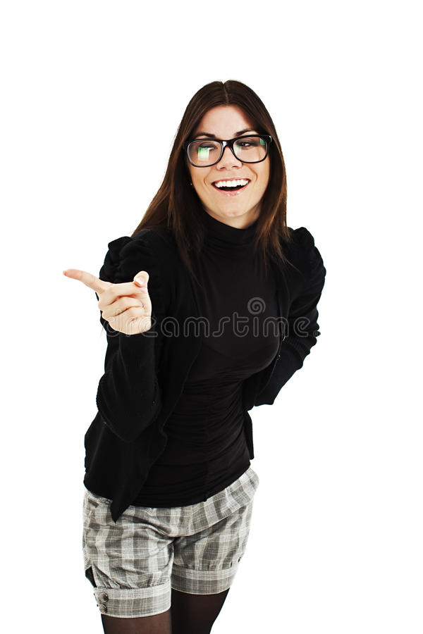 Download Attractive Smile Laugh Young Woman, Pointing Her Finger Stock Image - Image: 28831385