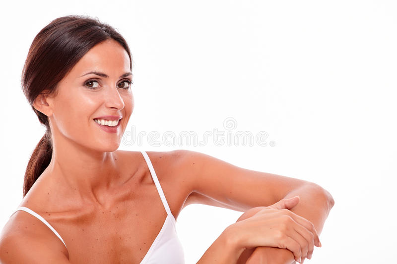 Attractive smiling brunette young woman only stock photos