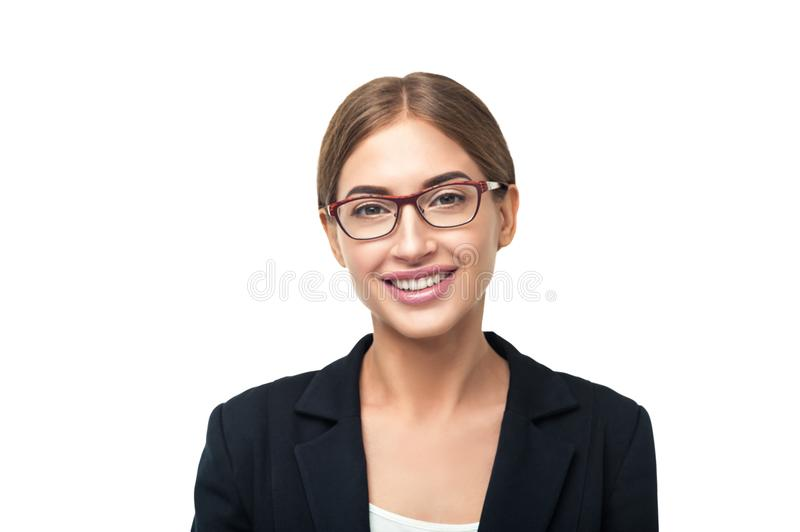 Smiling business woman portrait stock photography