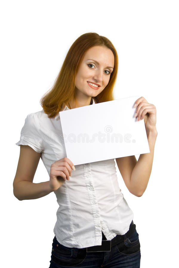 Attractive smiling business woman holding sign stock image