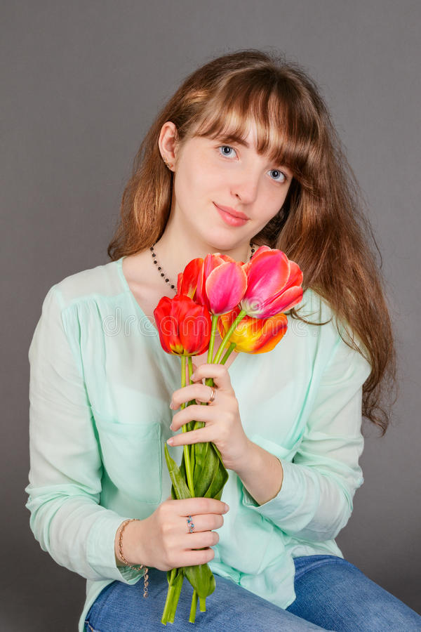 Attractive smiling girl royalty free stock photography