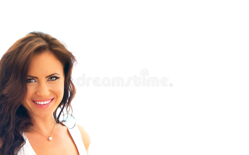 Attractive smiling woman. Isolated on white. Place for your text royalty free stock photo