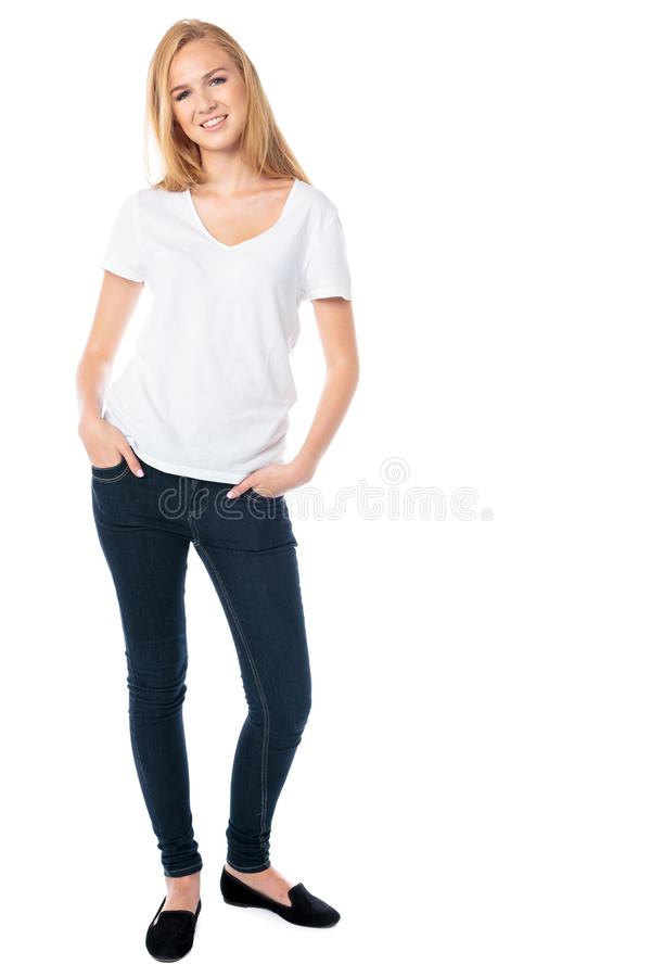 Attractive Smiling Woman In Jeans Stock Photography