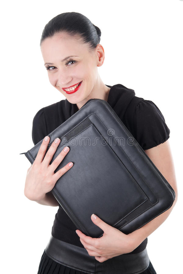Attractive smiling woman with leather briefcase royalty free stock photos