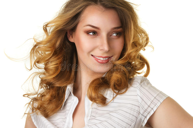 Attractive smiling woman with long