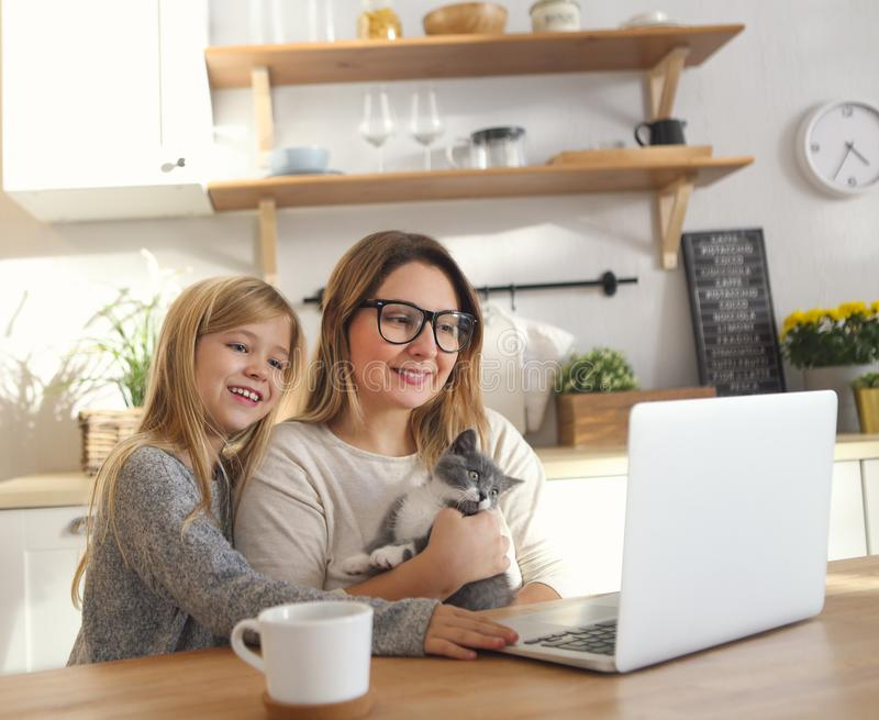 Attractive smiling woman working with little adorable daughter and kitten stock photos