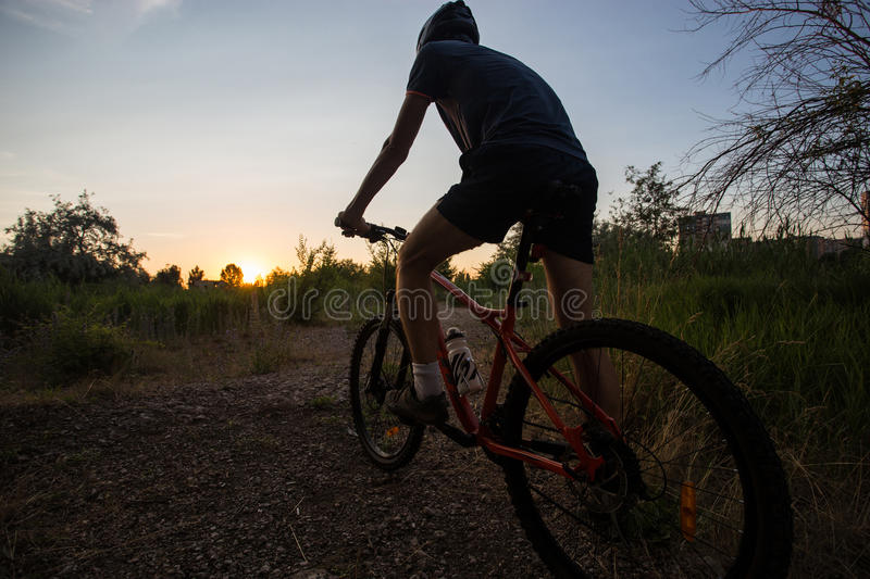 Attractive sporty girl with long hair on a bicycle on sunset stock images
