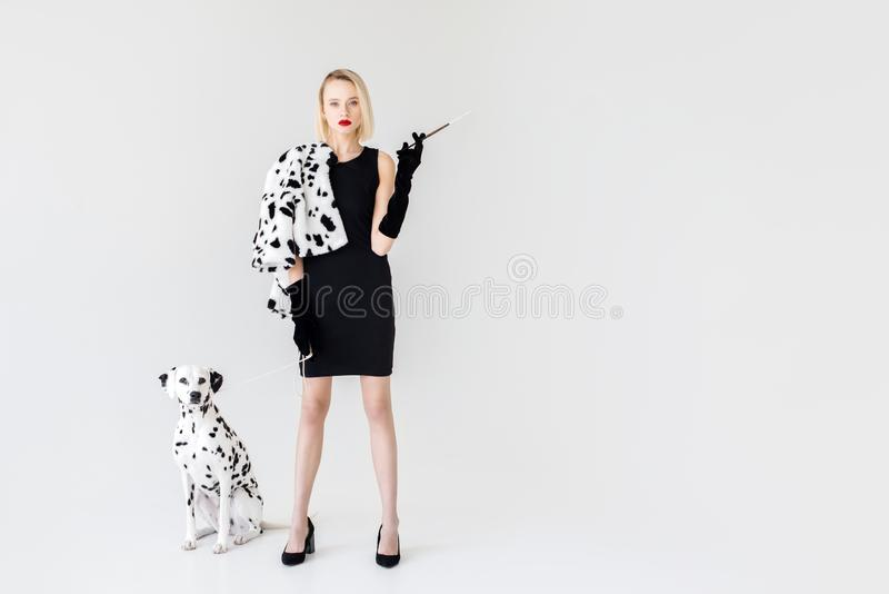 Attractive stylish blonde woman in black dress with dalmatian dog. On white royalty free stock image