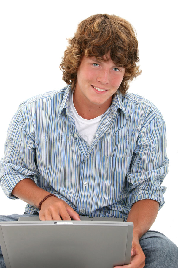 Free Attractive Teen Boy With Laptop Computer Royalty Free Stock Photo - 187805