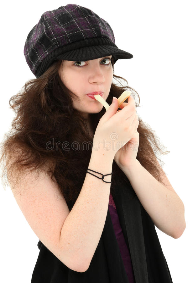 Download Attractive Teen Girl Eating String Cheese Stock Photo - Image: 19894596