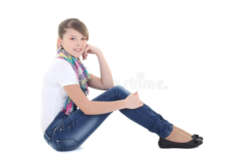 Attractive teenage girl dreaming over white. Background stock photos