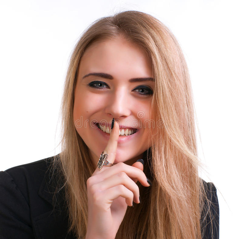 Attractive Teenager Gesturing Silence Stock Photography