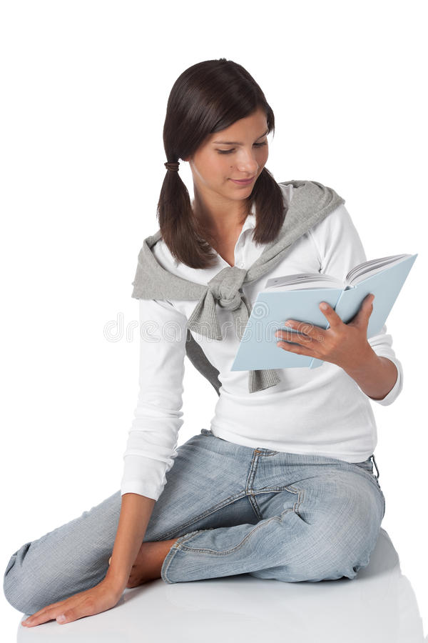 Download Attractive Teenager Reading Book Stock Image - Image: 10931601