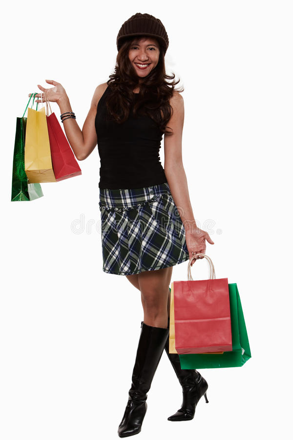Attractive thirties asian woman shopping lifestyle. Attractive thirties asian woman lifestyle shopping royalty free stock photography
