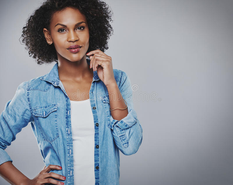 Attractive thoughtful African American woman royalty free stock photos