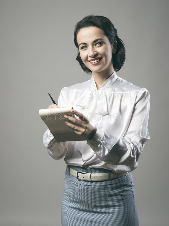 Free Attractive Vintage Secretary Taking Notes Stock Image - 56616601