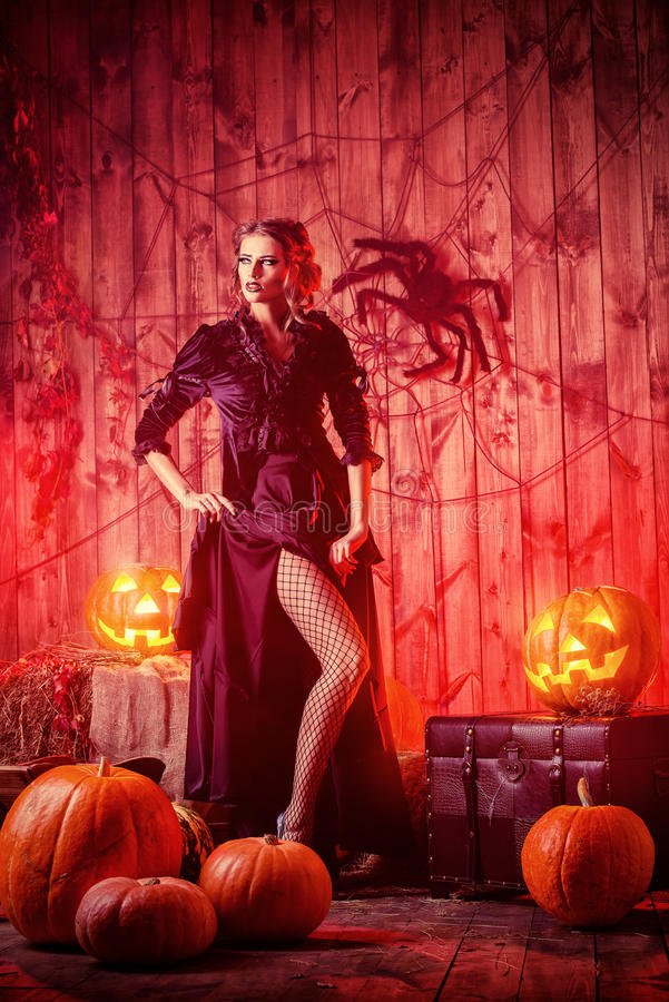 Attractive witch royalty free stock photography