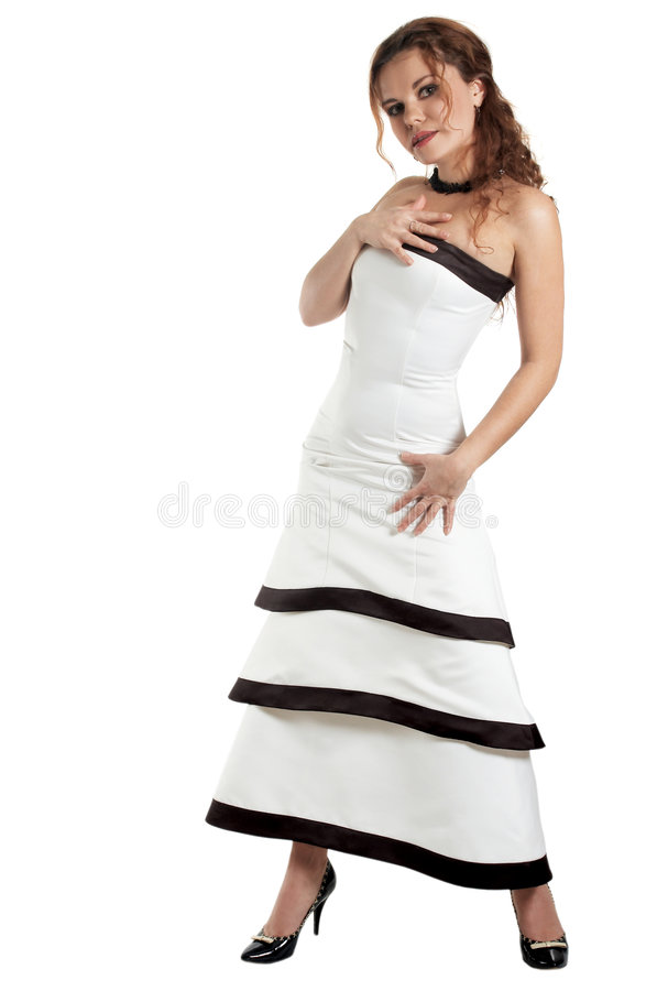 Attractive woman. Beautiful woman in an evening dress stock image