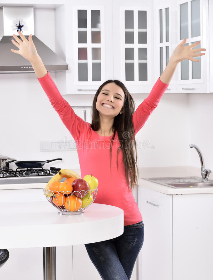 Attractive woman with basket of fruits royalty free stock photo