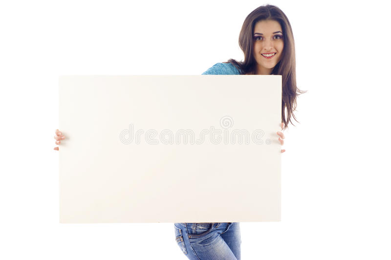 Download Attractive Woman With Billboard Stock Image - Image of gorgeous, isolate: 12403617