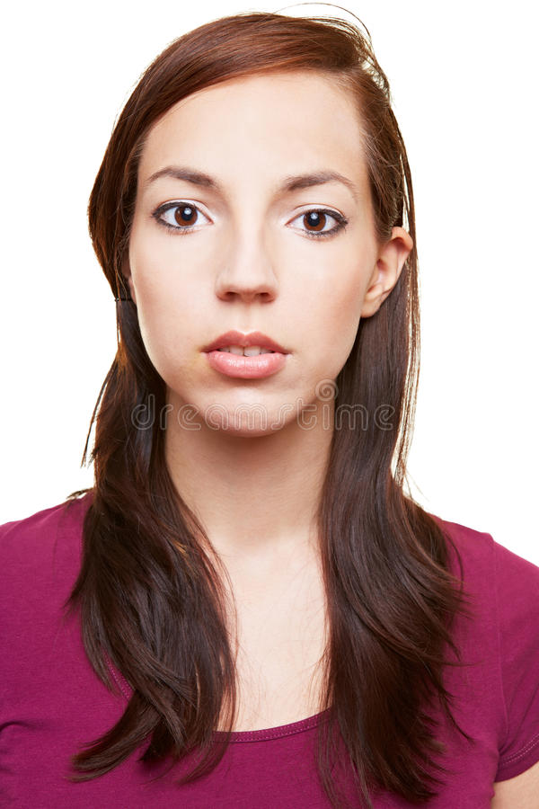 Attractive woman with blank face royalty free stock images