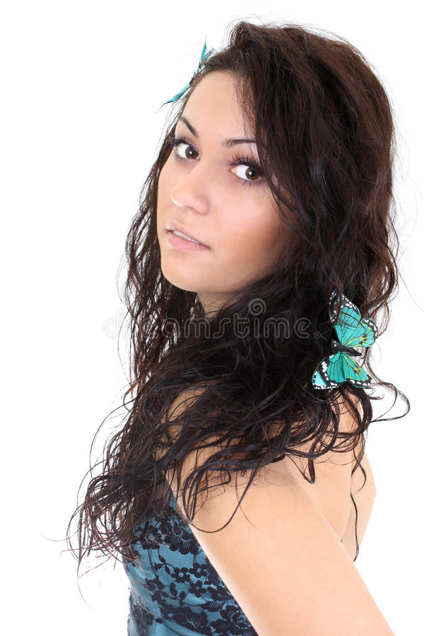 Download Attractive Woman With Butterfly In Her Hair Stock Image - Image: 16887315