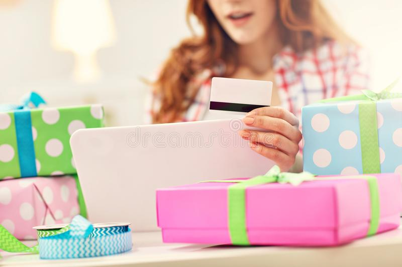 Attractive woman buying easter gifts online stock image image of download attractive woman buying easter gifts online stock image image of getting online negle Images