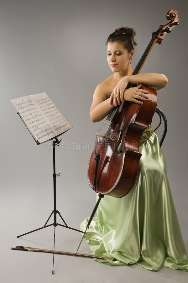 Attractive Woman With Cello Royalty Free Stock Images