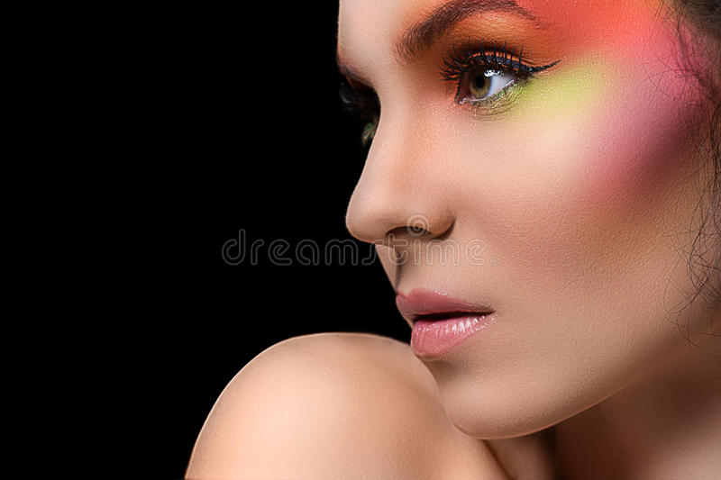 Download Attractive Woman With Colored Make-up Stock Image - Image of colorful, looking: 41524867