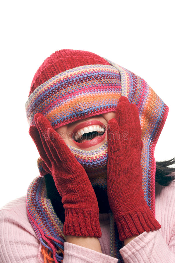 Download Attractive Woman With Colorful Scarf Over Eyes Stock Image - Image: 7281443
