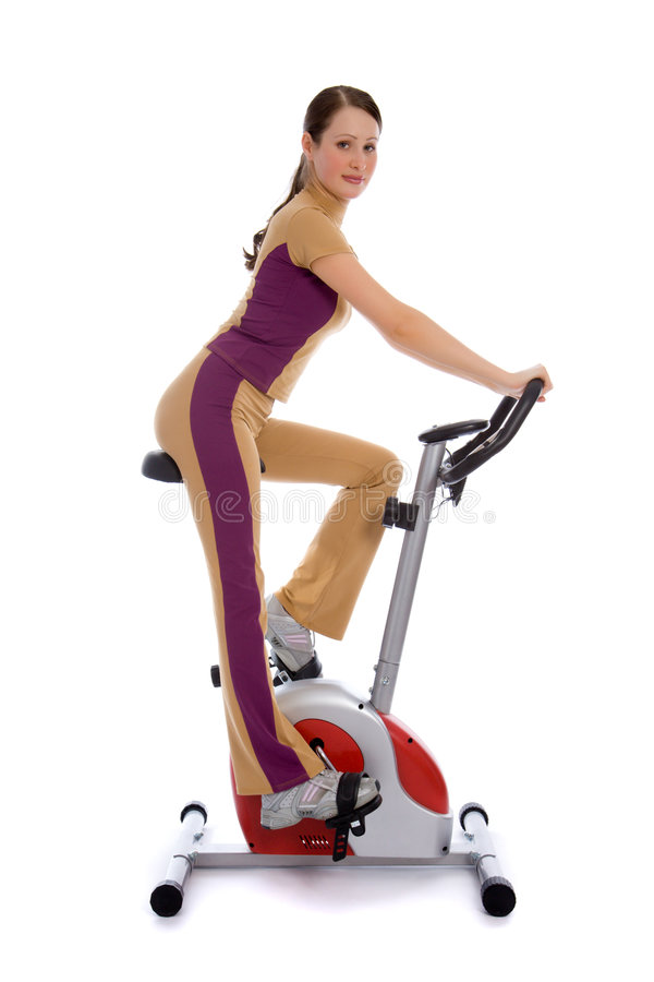 Free Attractive Woman Doing Fitness On A Bike Royalty Free Stock Photos - 8506078