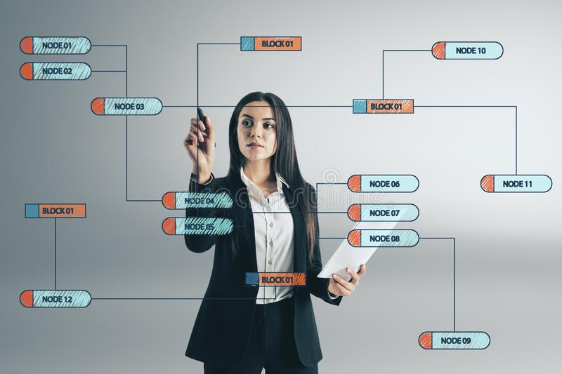 Attractive woman drawing nodes royalty free stock photography