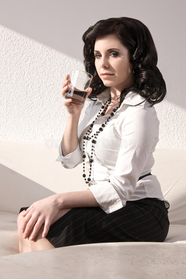 Download Attractive Woman With A Drink Royalty Free Stock Images - Image: 25037149