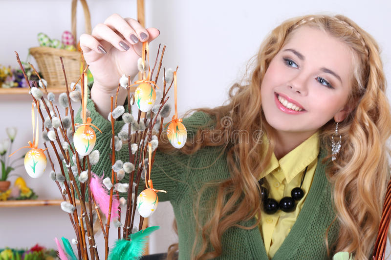 Download Attractive Woman With Easter Eggs And Pussy-willow Stock Image - Image of hair, celebration: 29098861