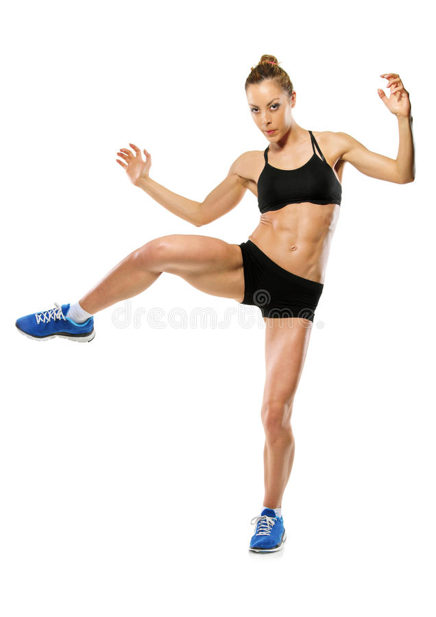 An attractive woman exercising stock images