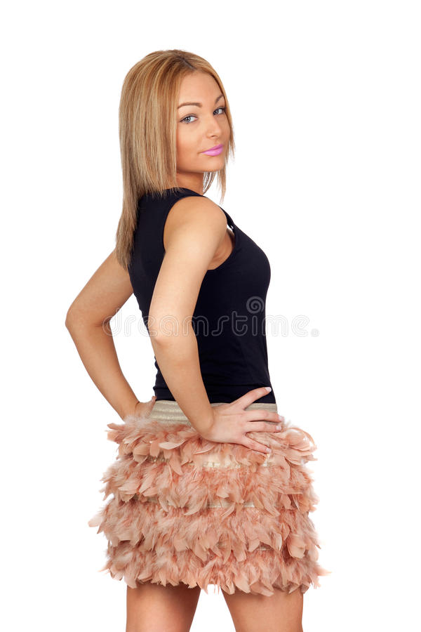 Attractive Woman With A Feather Skirt Royalty Free Stock Photo