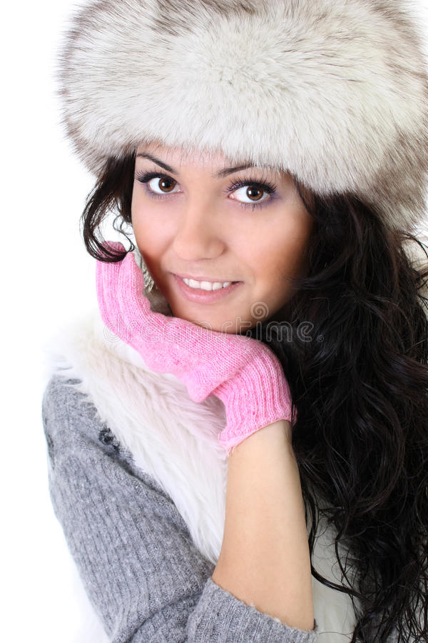 Download Attractive Woman In Fur Hat Stock Photo - Image: 16887046