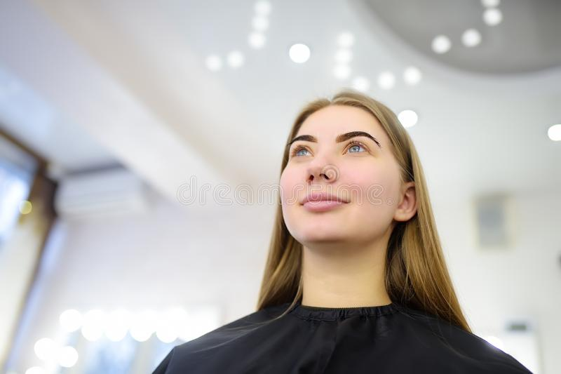 Attractive woman getting facial care at beauty salon. Perfect architecture eyebrows. Facial care and make up royalty free stock photos