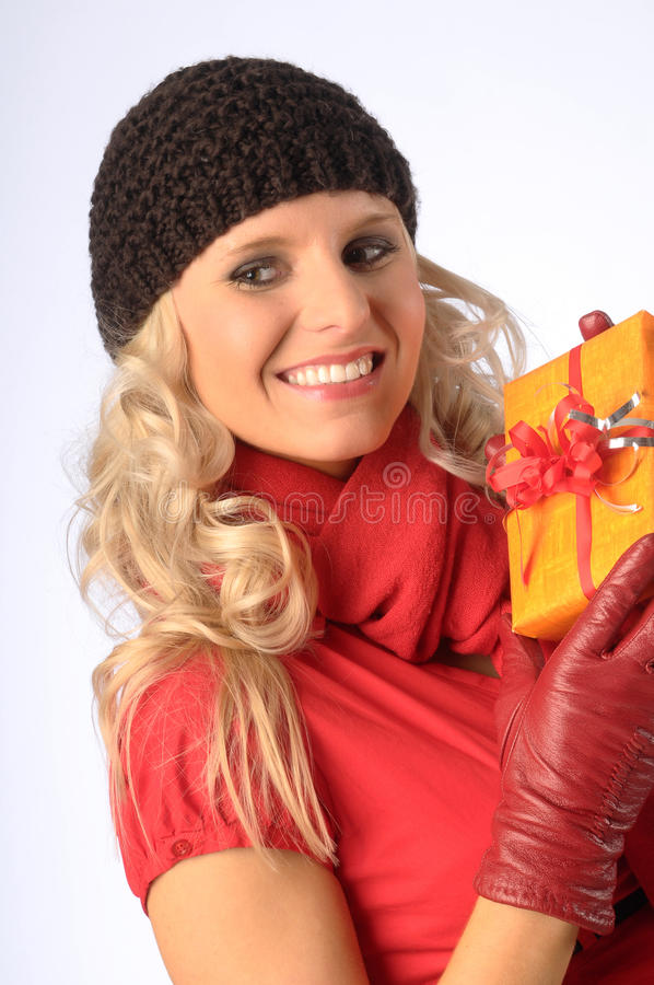 Download Attractive Woman with Gift stock image. Image of beauty - 15543939