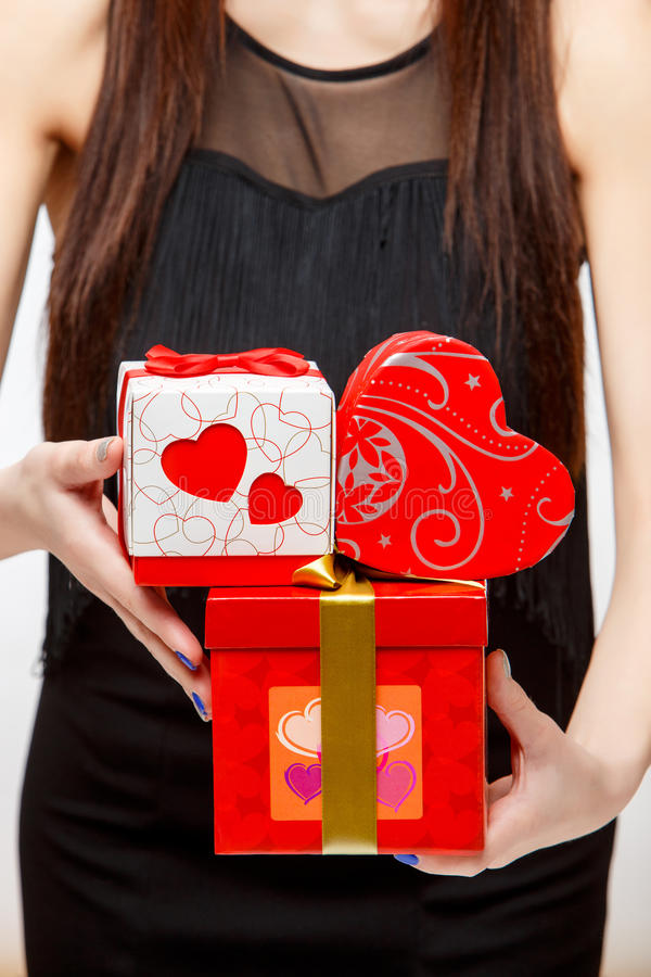 Attractive woman with gift box stock image