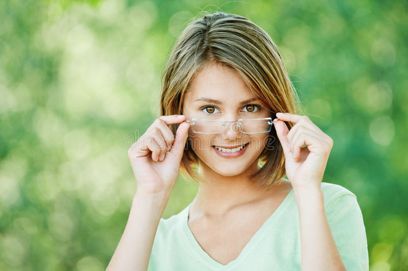 Attractive Woman Glasses Royalty Free Stock Photography