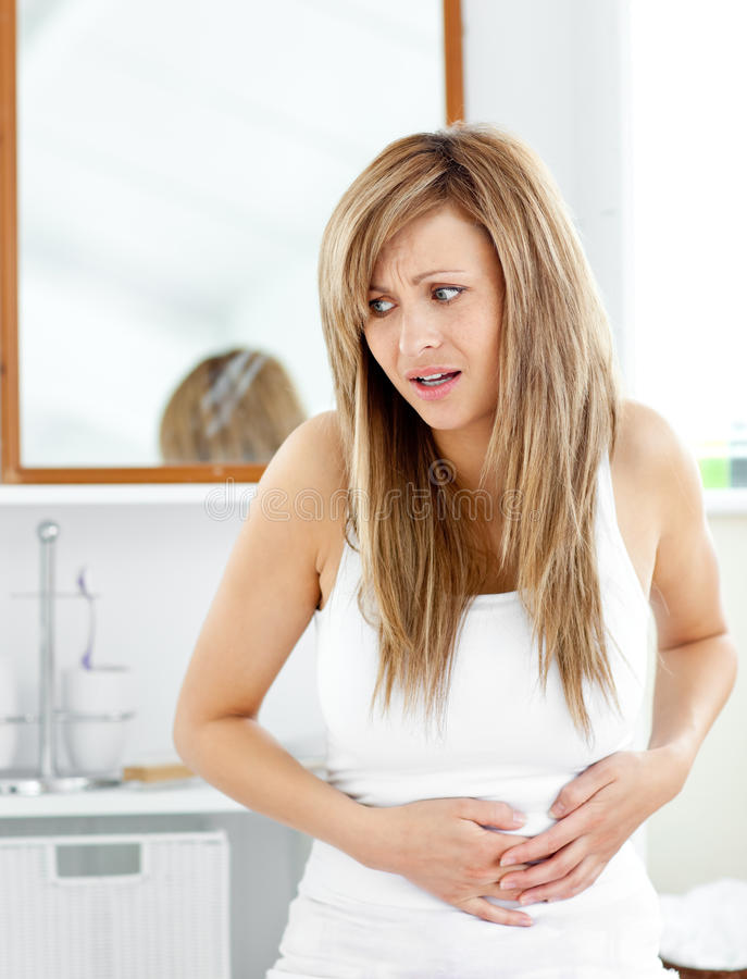 Free Attractive Woman Having A Stomachache Royalty Free Stock Image - 15786396