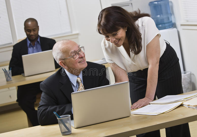 Download Attractive Woman Helping Older Man. Stock Image - Image: 10011763