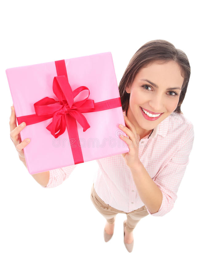 Download Attractive Woman Holding Gift Stock Photo - Image of smiling, casual: 28466404