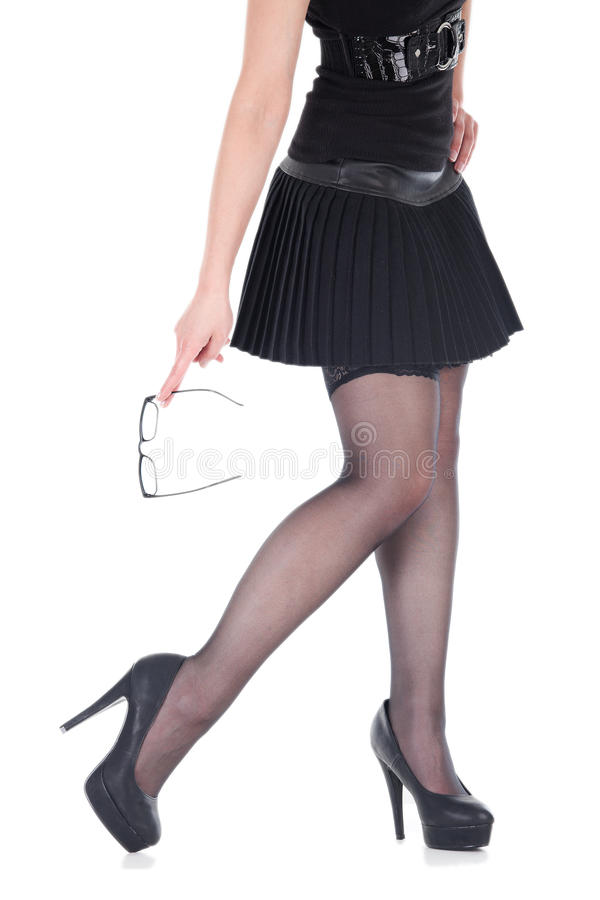 Attractive woman holding her glasses stock photos